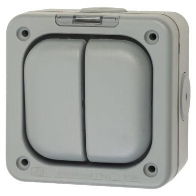 MK Masterseal Plus 10A IP66 2 Gang 1 Way Weatherproof Switch - Grey)