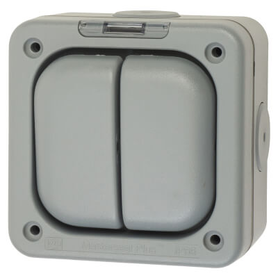 MK Masterseal Plus 10A IP66 2 Gang 1 Way Weatherproof Switch - Grey)