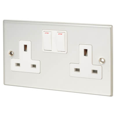 Contactum 13A 2 Gang Switched Double Pole Socket - Polished Steel with White Insert)