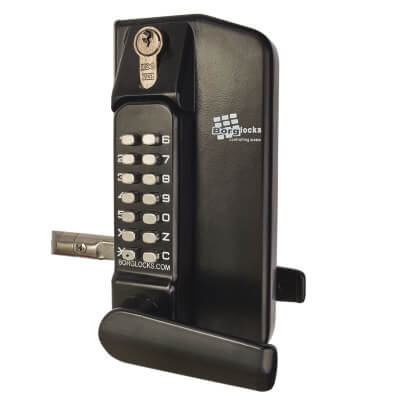 Borglocks BL3400 External Marine Grade Mechanical Gate Lock with Key Override - Black)