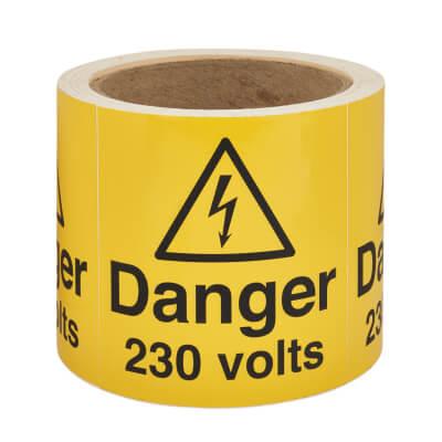 Danger 230 Volts - Self-Adhesive Vinyl Label - 80 x 80mm
