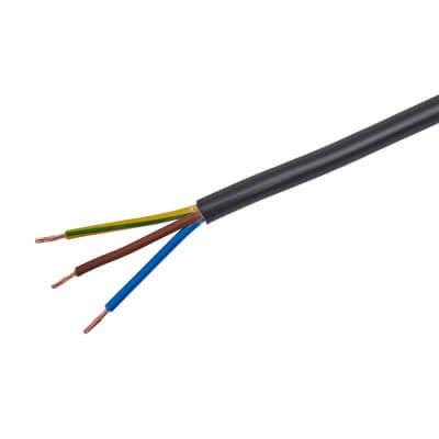3183Y 3 Core Round Flex Cable - 1mm² x 100m - Black)