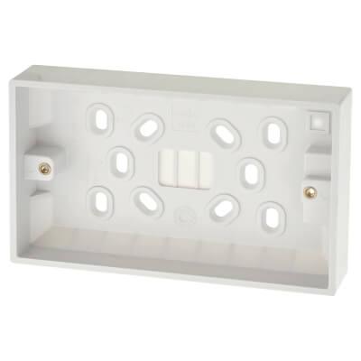 Deta 2 Gang Surface Pattress Box - 25mm - White)