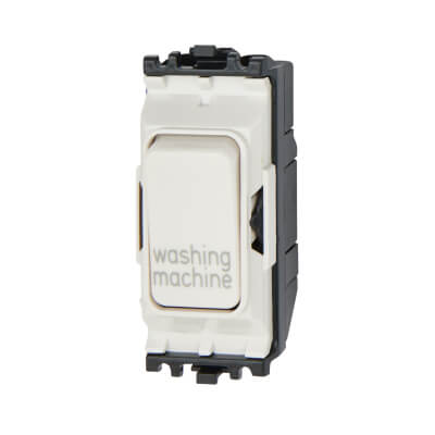 MK 20A Double Pole Switch Module - Washing Machine - White
