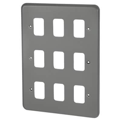 MK 9 Gang Grid Cover Plate Metalclad - Grey)