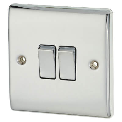 BG 10A 2 Gang 2 Way Switch - Polished Chrome)