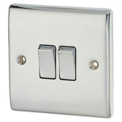 BG 10A 2 Gang 2 Way Light Switch - Polished Chrome)