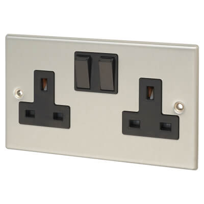 Contactum 13A 2 Gang Double Pole Switched Socket - Brushed Steel with Black Insert)