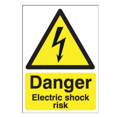 Danger Electric Shock Risk - 420 x 297mm - Rigid Plastic)
