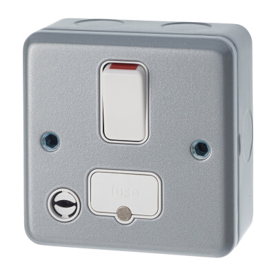 MK 13A 1 Gang Double Pole Metal Clad Switched with Flex Outlet - Grey)