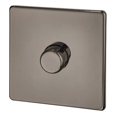 BG Screwless Flatplate 400W 1 Gang 2 Way Dimmer Switch - Black Nickel )