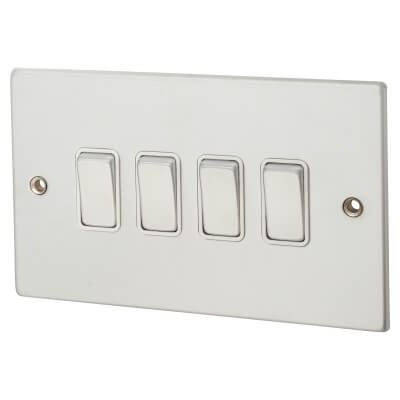 4 Gang10A 2 Way Switch Rocker Switches - Satin Chrome with White Inserts)