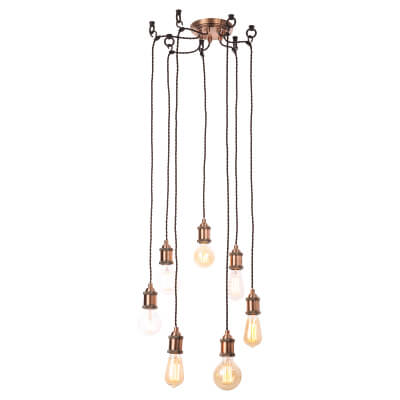 InLight Padua 7 Light Cable Ceiling Set - Antique Copper)