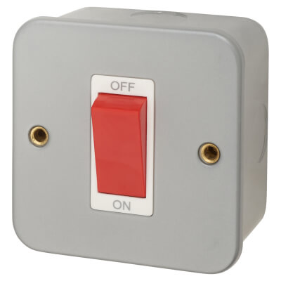 45A Double Pole Metal Clad Switch - Grey