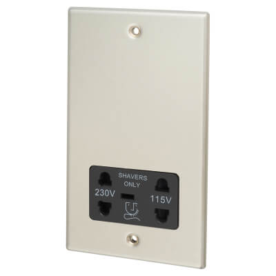 Contactum 230/115V Shaver Socket - Brushed Steel with Black Insert)