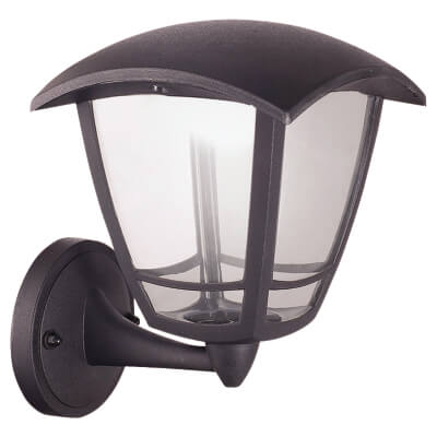 Luceco 8W LED Coach Lantern Bottom Arm - 4000K - Black)