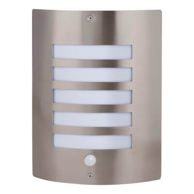 60W Wall Light with PIR - Stainless Steel)