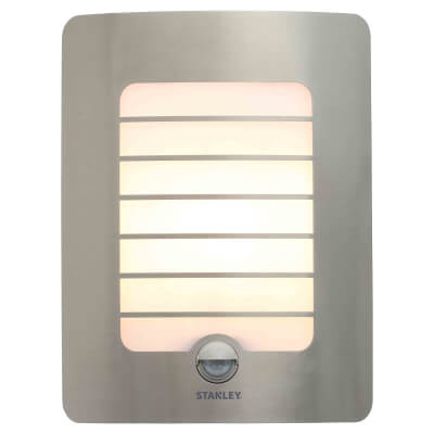 Stanley Panel Wall Light with PIR - Stainless Steel)