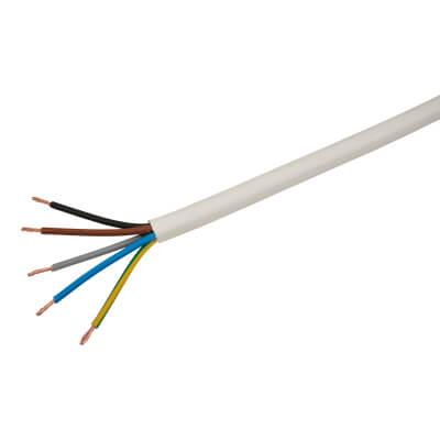 3185Y 5 Core Round Flex Cable - 1.5mm² x 100m - White)