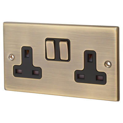 Hamilton 13A 2  Gang Switched Socket  - Antique Brass with Black Inserts)