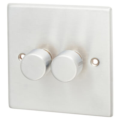 2 Gang 2 Way 100W LED Dimmer  -Satin Chrome with White Inserts)