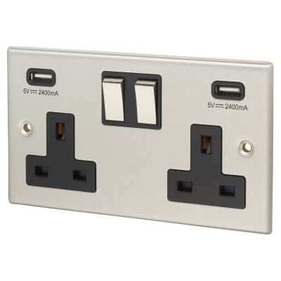 Contactum 2 Gang Switched Socket with 2 x USB - 4.8A - Brushed Steel with Black Insert)