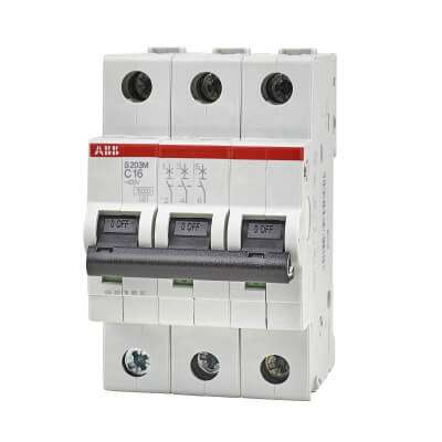 ABB 16A 10kA Triple Pole 3 Phase MCB - Type C)
