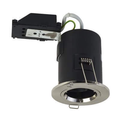 Luceco Fixed Fire Rated Downlight - IP20 - Satin Chrome)