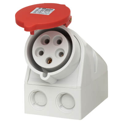32A 4 Pin and Earth Surface Socket - Red