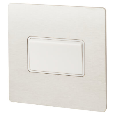 Hamilton 10A 1 Gang Screwless Flat Plate Triple Pole Rocker Switch - Satin Stainless with White Ins)