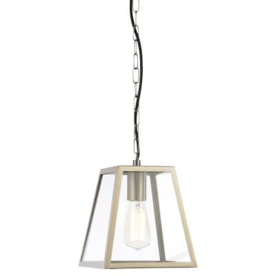 Forum Atlas Tapered Square Glass Panel Lantern - Stainless Steel )