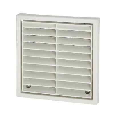 Manrose 4 Inch Wall Grill Fixed Shutter -110mm - White