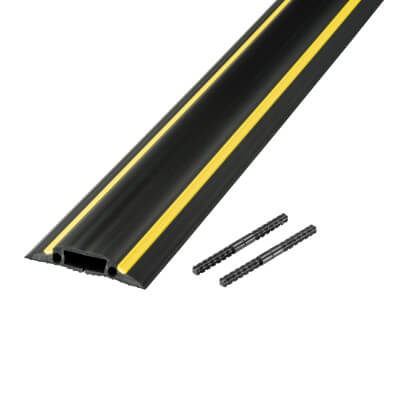 D-Line Medium Duty Linkable Floor Cable Protector- 14 x 83mm x 1.5m Channel- Black & Yellow)