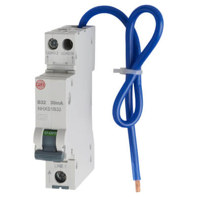 Wylex 32A 30mA Single Pole RCBO - Type B)