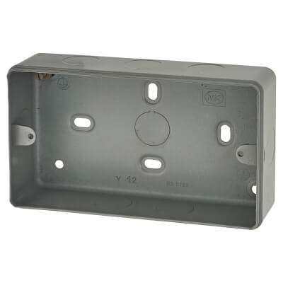 MK 2 Gang Spare Metalclad Surface Box with Knockouts - 38mm - Grey)