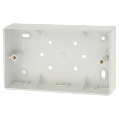 Marshall Tufflex 2 Gang Radius Surface Pattress Box with Minitrunking Knockout - 32mm - White)