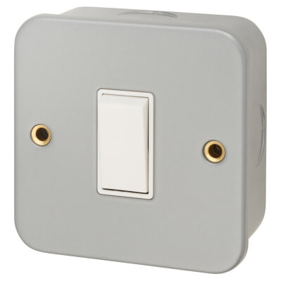 6A 1 Gang Plate Switch - Metal Clad