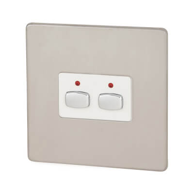 MiHome 2 Way Light Switch - Brushed Steel)