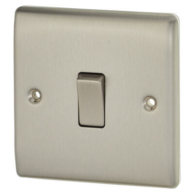 BG 10A 1 Gang 2 Way Single Pole Light Switch - Brushed Steel)