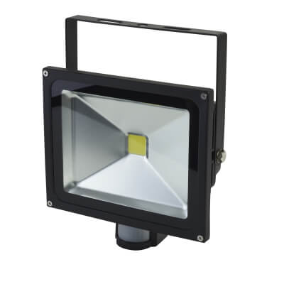 30W 6000K LED Square Floodlight with PIR - Black)