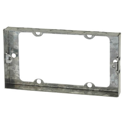 2 Gang Knockout Flush Extension Box - 16mm - Galvanised)
