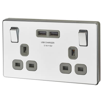 BG 13A 2 Gang Screwless Flatplate Socket with 2 x USB - 3.1A - Polished Chrome with Grey Insert)