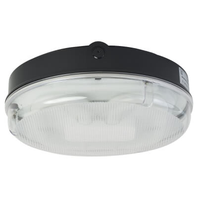 28W 2D Screw Drum Bulkhead Light - IP65 - Black Prismatic)