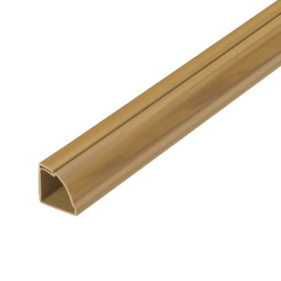 D-Line Round Trunking - Self-Adhesive - 22 x 22mm x 2m - Oak Effect)
