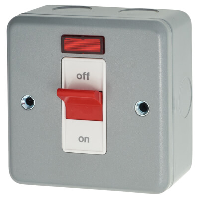 MK 32A 1 Gang Double Pole Metalclad Switch with Neon - Grey)