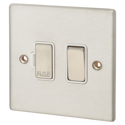 Hamilton 13A 1 Gang Double Pole Switched Fused Spur - Satin Stainless with White Inserts)