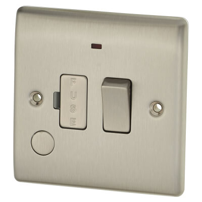 BG 13A 1 Gang Switched Fuse Spur Unit with Neon and Flex Outlet - Brushed Steel)