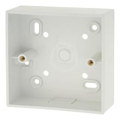 1 Gang PVC Pattress/Back Box with Knockout - 32mm - White)