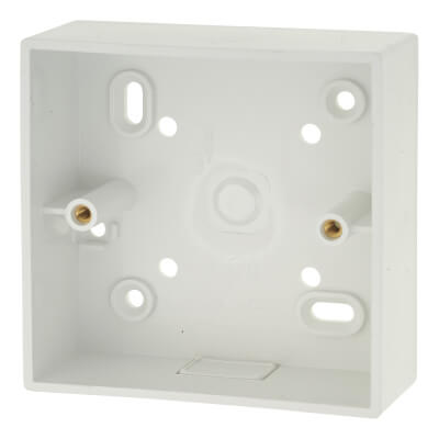 Greenbrook 1 Gang PVC Pattress/Backbox with Knockout - 32mm - White