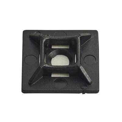 Cable Tie Self Adhesive Pad - 28 x 28mm - Black - Pack 100)
